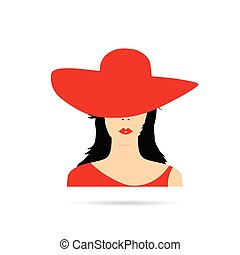 woman head with red hat fashion illustration