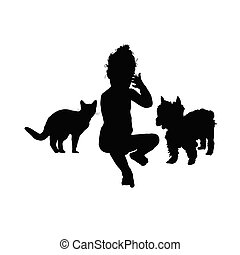 child with cat and dog silhouette illustration in black