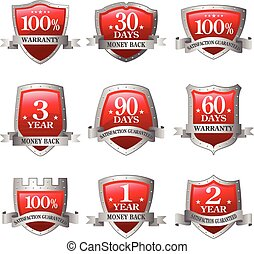 red and silver Emblem money back guarantee icon