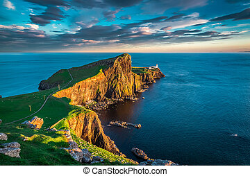 Sunset at the Neist point lighthouse, Scotland