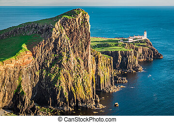 Wonderful dusk at the Neist point lighthouse in Isle of...