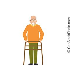 Old Disabled Man Isolated on White Background - Illustration...