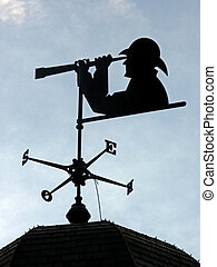 Weather Vane - A weather vane with person looking through a...