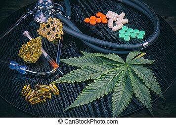 Medical marijuana products vs conventional pills concept