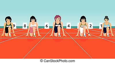 starting points - The competition runs with runners on the...