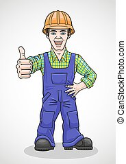 The worker raised his thumb up.