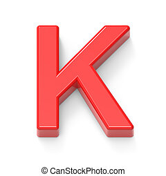 light red letter K, 3D rendering graphic isolated on white...