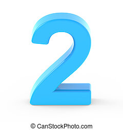 light blue number 2, 3D rendering graphic isolated white...