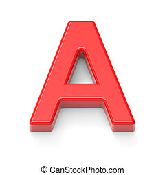 light red letter A, 3D rendering graphic isolated on white...