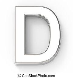silver letter D - 3d silver letter D, 3D rendering graphic...