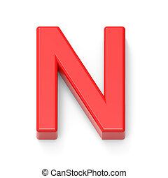 light red letter N, 3D rendering graphic isolated on white...