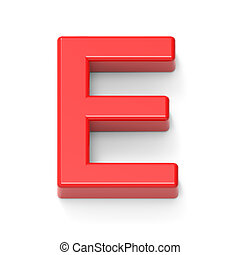 light red letter E, 3D rendering graphic isolated on white...