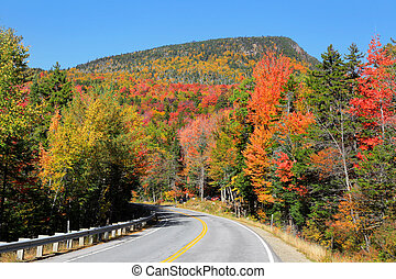 Autumn high way - Scenic Kancamagus high way passes through...
