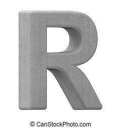 concrete letter R - left leaning 3d gray concrete letter R,...