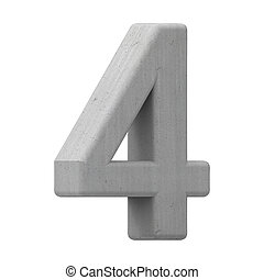 concrete number 4 - left leaning 3d gray concrete number 4,...