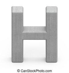 concrete letter H - 3d gray concrete letter H, 3D rendering...