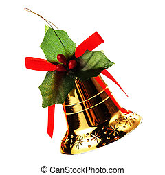 Golden single bell with a red bow isolated on white...