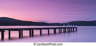 Port Arthur Pier - Port Arthur pier at dusk in Tasmania,...