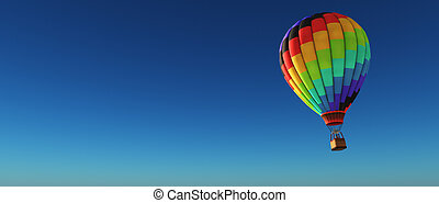 Hot air balloon on a blue background. This is a 3d render...
