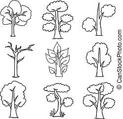 set of trees on white vector illustration