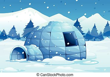 Igloo in the north pole illustration