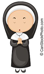 Nun in black outfit illustration