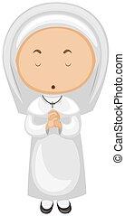 Nun in white outfit praying