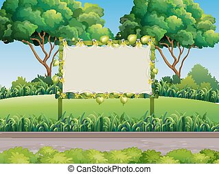 Bamboo frame in the park
