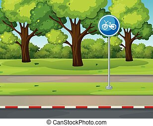 Park scene with bike lane on the road