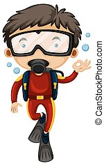 Man doing scuba diving illustration