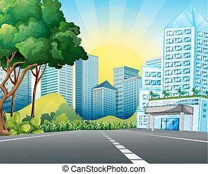 City scene with tall buildings