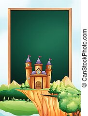 Frame design with castle towers in background illustration