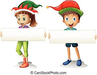 Boy and girl holding blank signs illustration