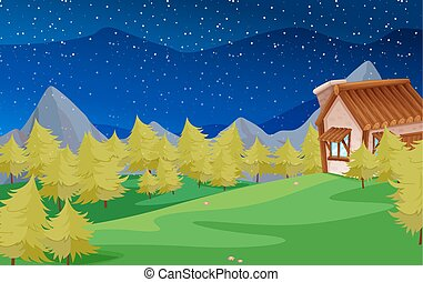 Scene with pine trees and house illustration