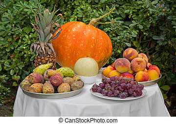 Table of fruit, pineapple pumpkin melon grapes peach...
