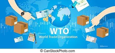 WTO World Trade Organization vector illustration market