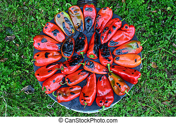 Roasted red peppers, top view
