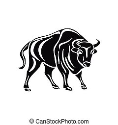 black silhouette of bull on white background.
