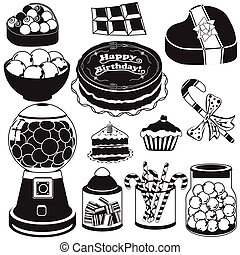 candy black icons - Vector illustration of different candy...