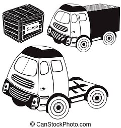 transport truck black icons - Vector illustration of...