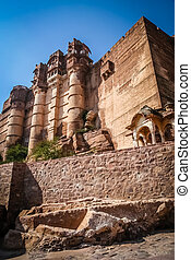 Meherangarh Fort in Jodhpur - Impressive Fort above blue...