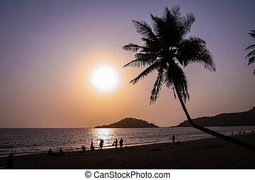 Sunset in Goa - Sunset on the beautiful beach Goa Indian