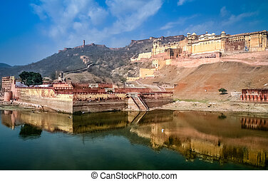 Amber Fort - Impressive Amber Fort near Jaipur city in...