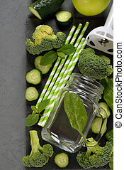 Fresh ingredients for green smoothies