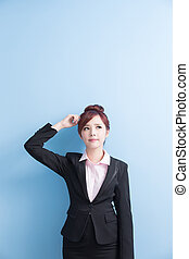 business woman is thinking something
