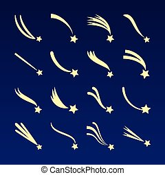 Shooting star, comet silhouettes vector icons isolated on dark blue background
