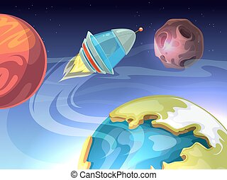Space vector cartoon comic background with spaceship and planets