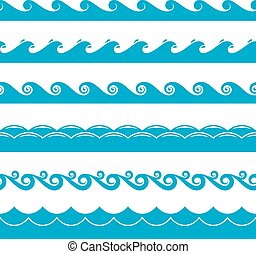 Water waves vector symbols set