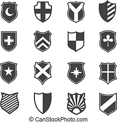 Protection shield vector icons. Medieval emblems set with...