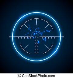 Accurate sniper scope, neon luminous target vector...